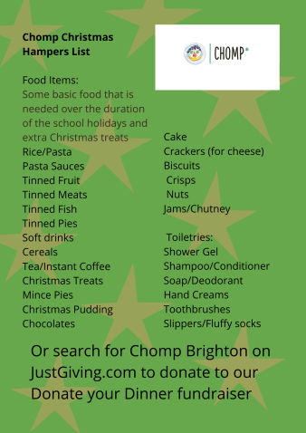 Chomp Christmas Hampers List Food Items_ Some basic food is needed over the duration of the school holidays and extra Christmas treats Rice_Pasta Pasta Sauces Tinned Fruit Tinned Meats Tinned Fish Tinned Pies Soft dr